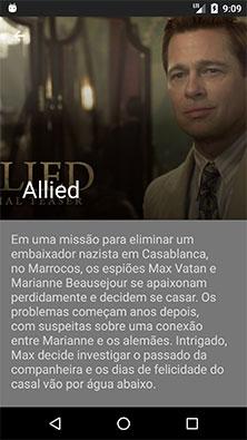 Atividade de detalhes do aplicativo Android de cinema