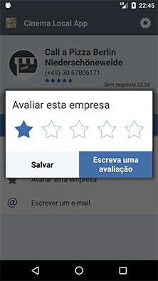 Window de avaliação de local fornecido pela Calldorado API