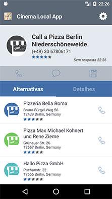 Página de apresentação de locais alternativos da Calldorado API