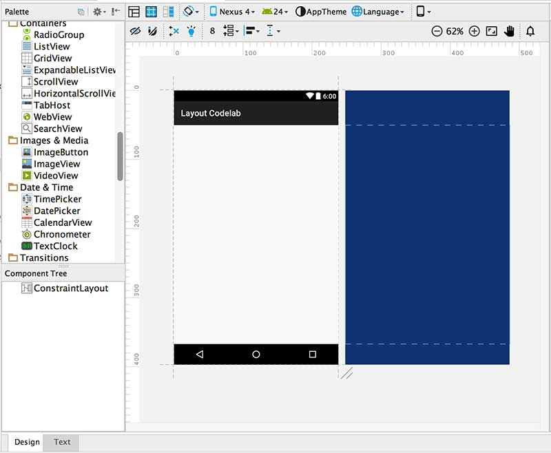 Área de design de layout do Android Studio