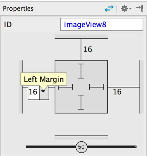 Valores de propriedades do ImageView em tela