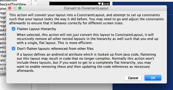 Convertendo, de maneira automática, layout existente para um layout com ConstraintLayout
