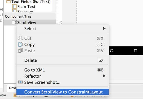 Opção Convert ScrollView to ConstraintLayout
