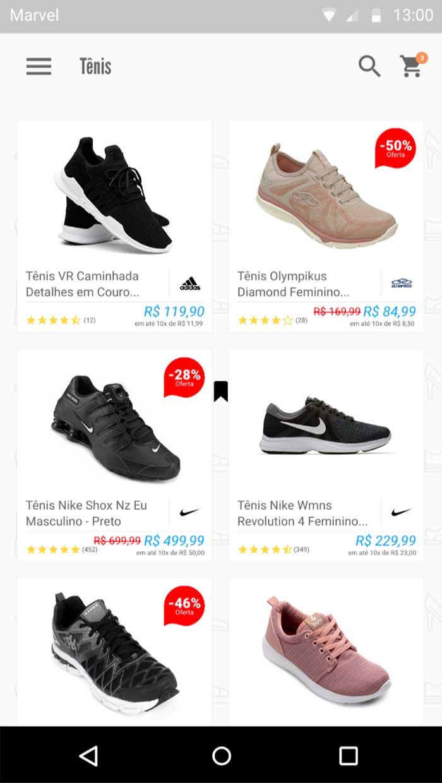 Lista de todos os calçados