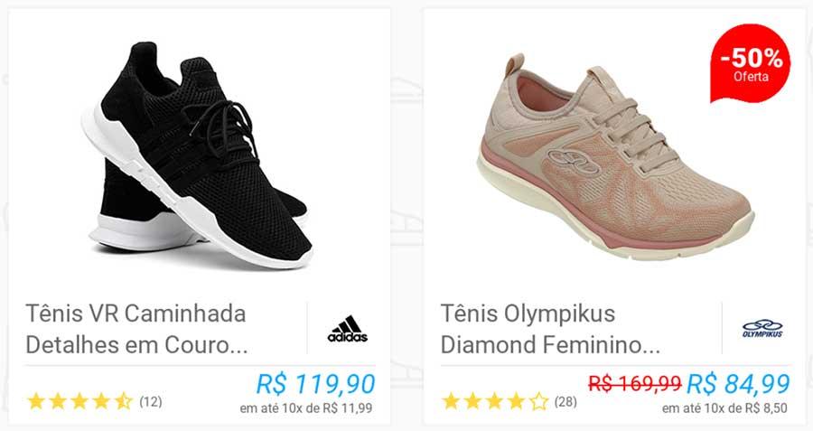 Itens da lista de calçados em app