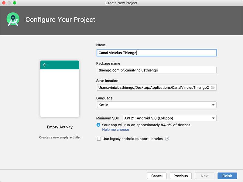 Tela de configuração padrão de um novo projeto no Android Studio