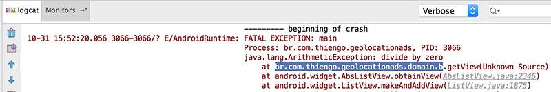 Pilha de erros no LogCat do Android Studio