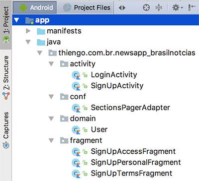 Pastas e arquivos do projeto no Android Studio