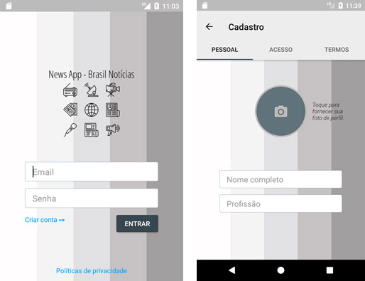 Tela de login e tela de cadastro do app Android