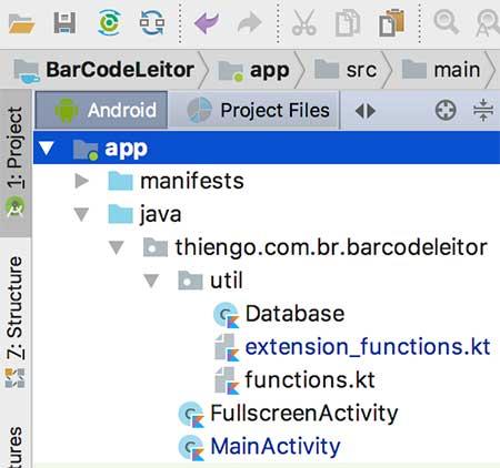 Arquitetura Android Studio do projeto BarCodeLeitor