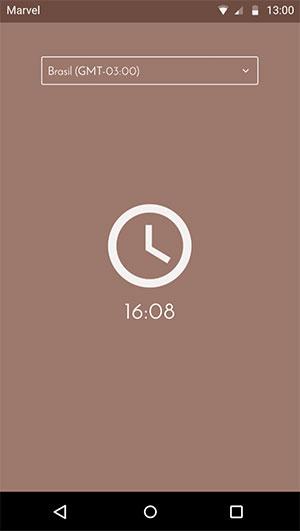 Tela com o relógio e seletor de fuso horário