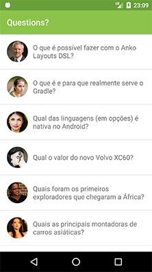 Tela principal do aplicativo Android Questions?
