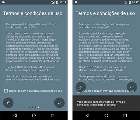 Quarto slide com os Termos e Condições de Uso do aplicativo