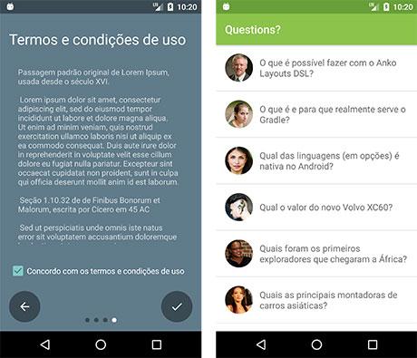 Slide final e tela inicial do aplicativo Questions?