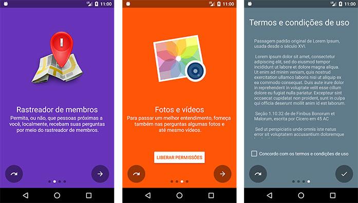 Três slides do aplicativo Android Questions?