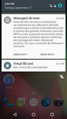 Nova notificação na bandeja de notificações Android