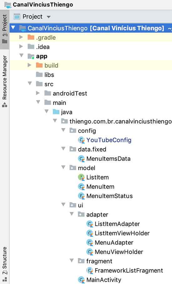 Configuração física do projeto Android