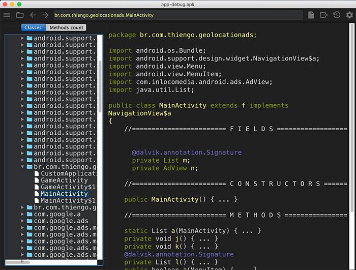 Engenharia reversa da MainActivity do projeto de exemplo