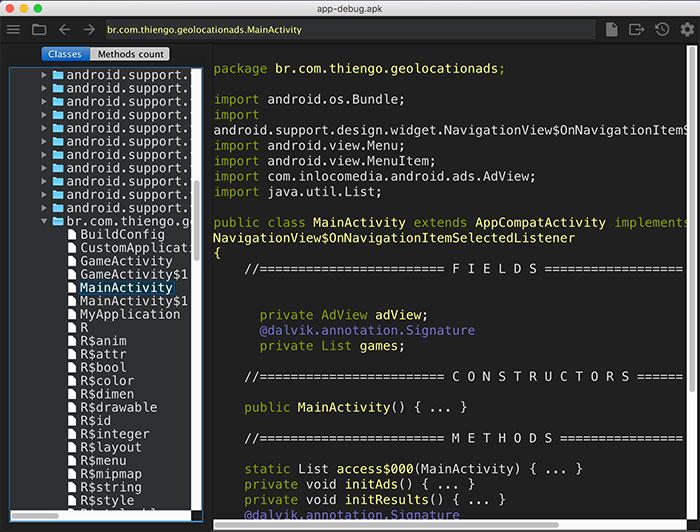 Engenharia reversa no código do projeto de exemplo