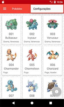 Tela principal do app Android Pokédex