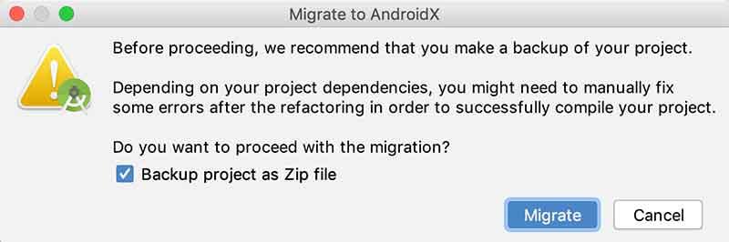 Backup do projeto Android antes da migração para o AndroidX
