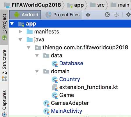 Arquitetura Android Studio do projeto FIFA