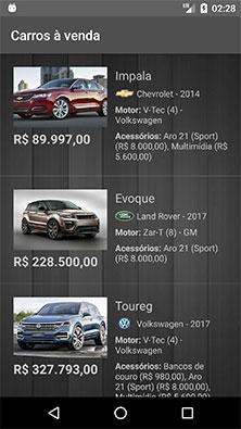 Atividade principal atualizada do app Android de carros