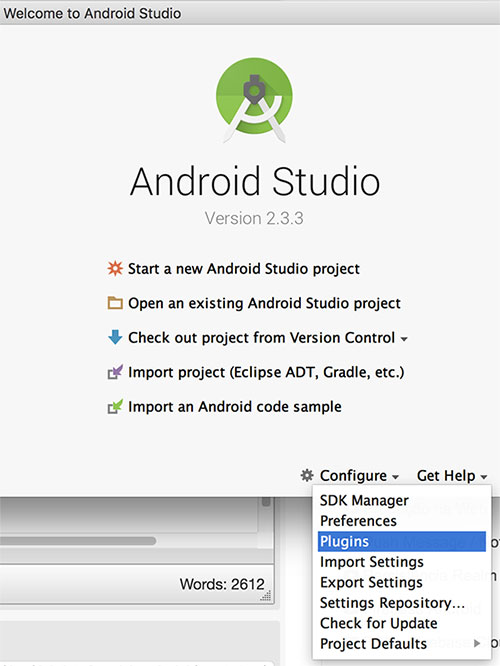 Janela inicial do Android Studio