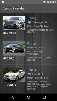 Atividade principal do aplicativo Android de carros