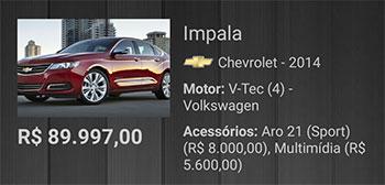 Item da lista de carros com os rótulos e valores formatados corretamente