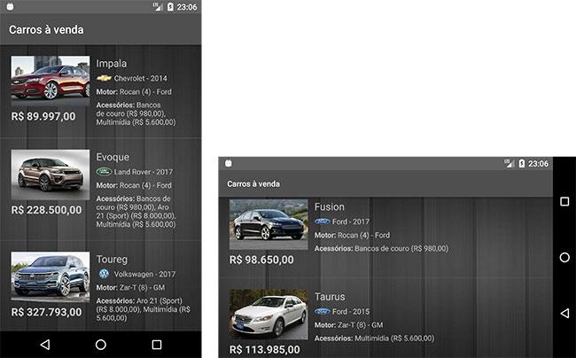 Aplicativo Android de carros
