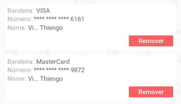 Itens de lista, cartões de crédito