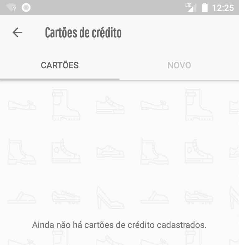 Nova configuração de mensagem de lista sem cartões de crédito