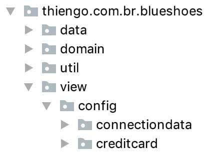 Estrutura física do projeto Android BlueShoes