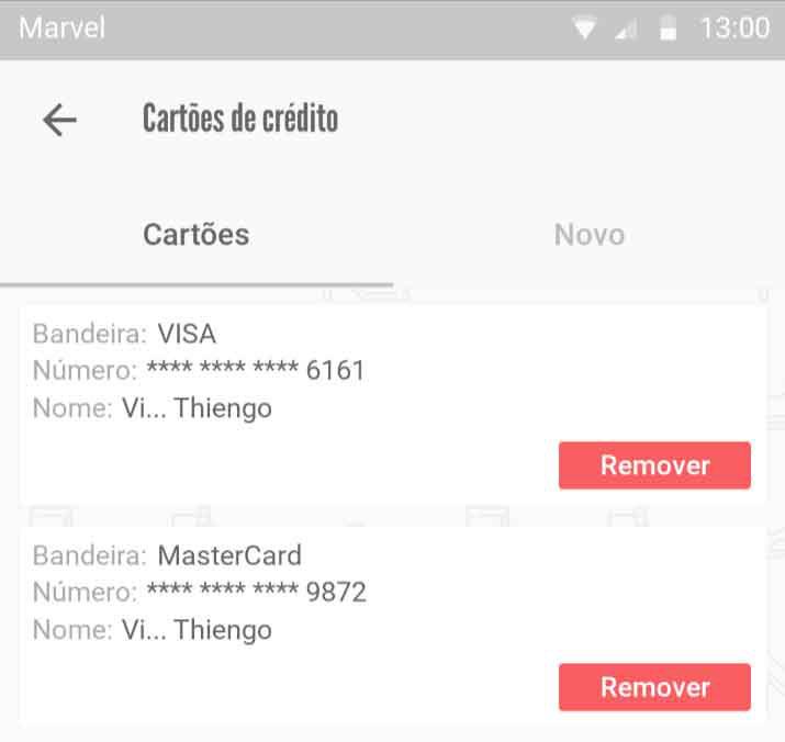 Lista de cartões de crédito
