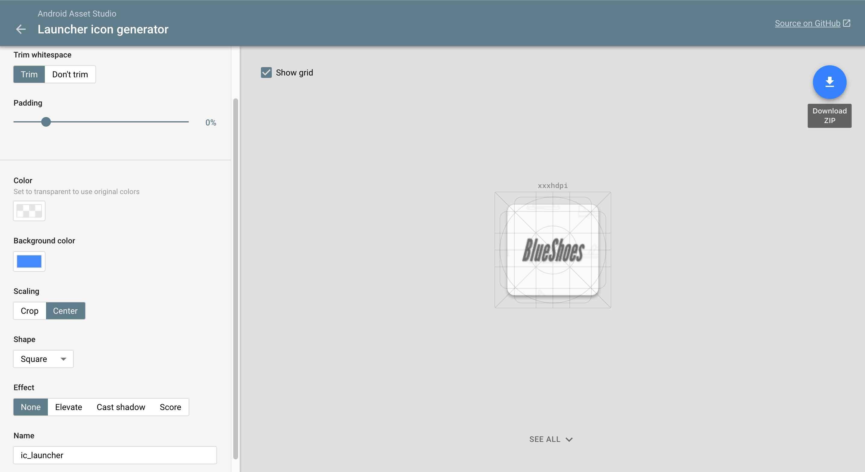 Gerando ícone em Android Asset Studio