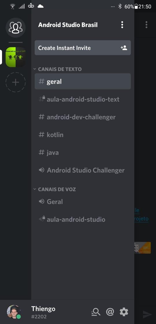 Menu gaveta app Android Discord