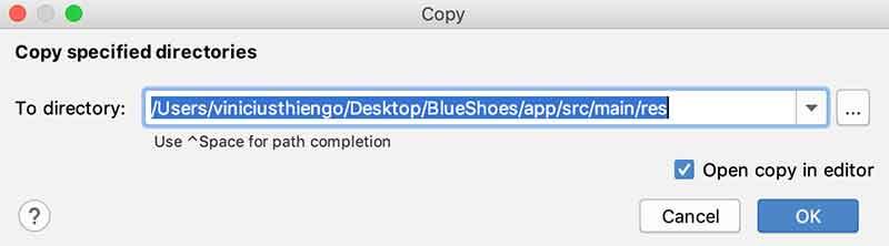 Copiando imagens em folder do Android Studio
