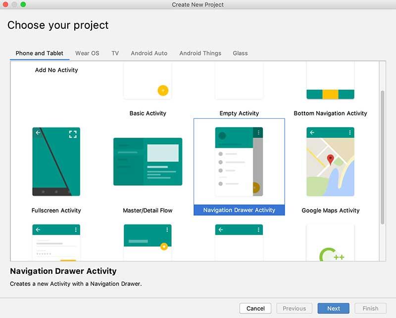 Android Studio - Escolha seu projeto