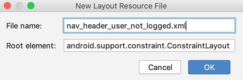 Criando um novo layout de cabeçalho
