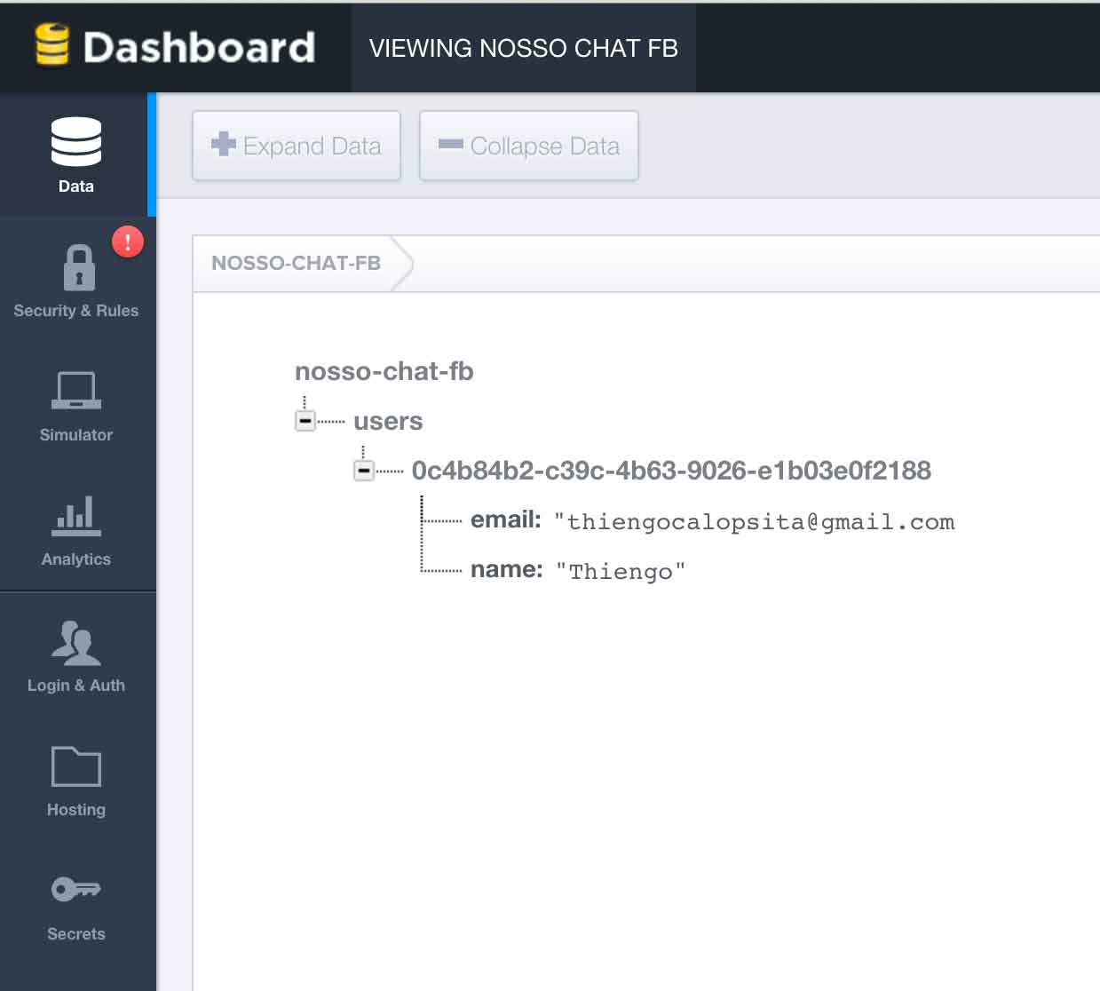 Firebase Database no dashboard Web Firebase