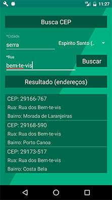 Área de busca de endereços por CEP no aplicativo Android MarketplaceAPP