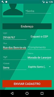 Tela preenchida de cadastro de novo usuário no aplicativo Android MarketplaceAPP