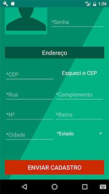 Tela de cadastro de novo usuário no aplicativo Android MarketplaceAPP
