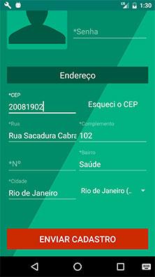 Tela de cadastro, preenchida, do aplicativo MarketplaceAPP