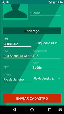 Tela de cadastro do aplicativo Android MarketplaceApp