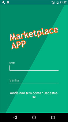 Tela de login do aplicativo Android MarketplaceAPP