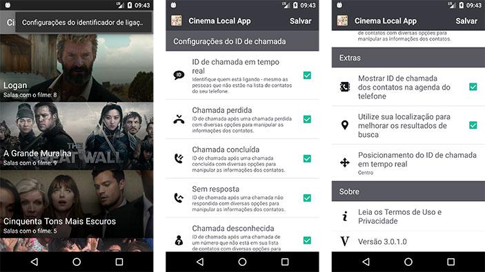 Área de configuração do identificador de chamadas dentro do App de cinema