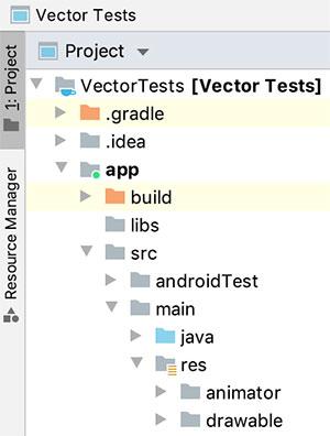 Projeto Android expandido em visualização Project