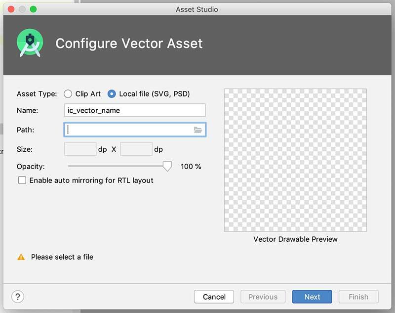 Vector Asset Studio para seleção de vetor externo ao aplicativo Android